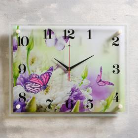 "Часы настенные, серия: Цветы, ""Бабочка"", 35х45 см микс"