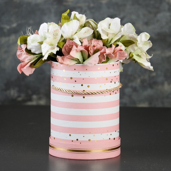 Коробка круглая для цветов 14 х 14 х 18,5 см - фото 8877459