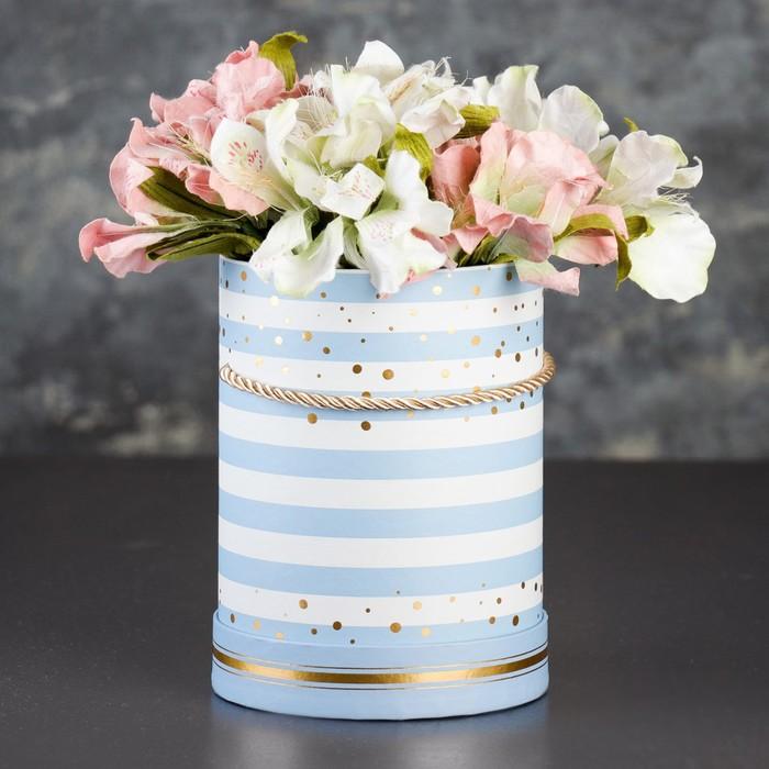 Коробка круглая для цветов 14 х 14 х 18,5 см - фото 8877461