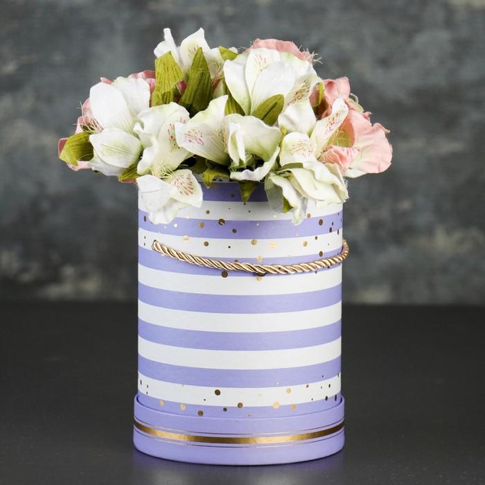 Коробка круглая для цветов 14 х 14 х 18,5 см - фото 8877463