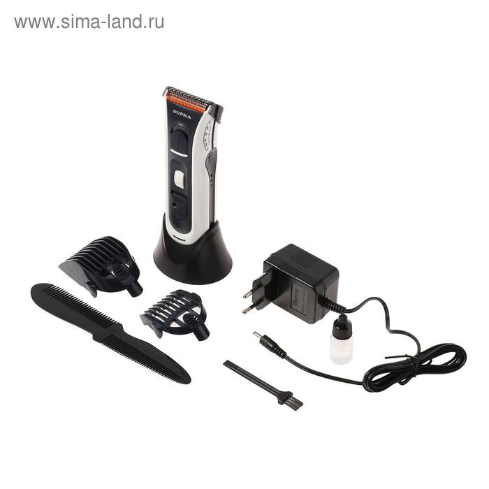 Машинка для стрижки SUPRA HCS-205, АКБ, 3 насадки, черно-серая