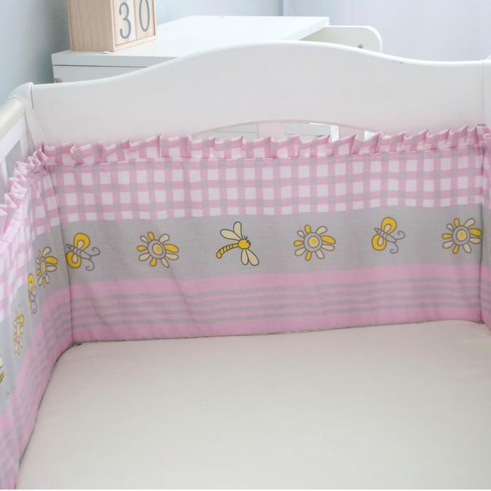 Борт-лента «Зайка на поляне», размер 26 × 360 см, розовый, бязь