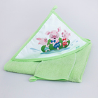 Набор для купания «Три поросёнка», пелёнка 90 × 90 см, рукавичка, салатовый