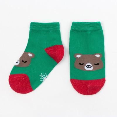 """Socks Baby I """"Christmas Bear"""", green, 6-8 cm"""