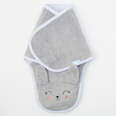 Конверт-одеяло Крошка Я «Зайка», серый, рост 50–56 см