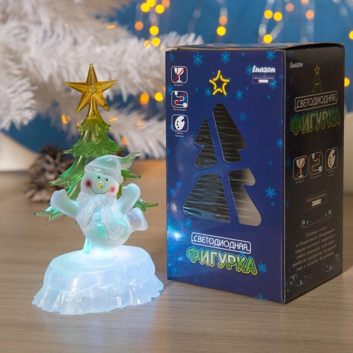 """Игрушка световая """"Снеговик под елкой"""" (батарейки в комплекте) 1 LED, RGB"""