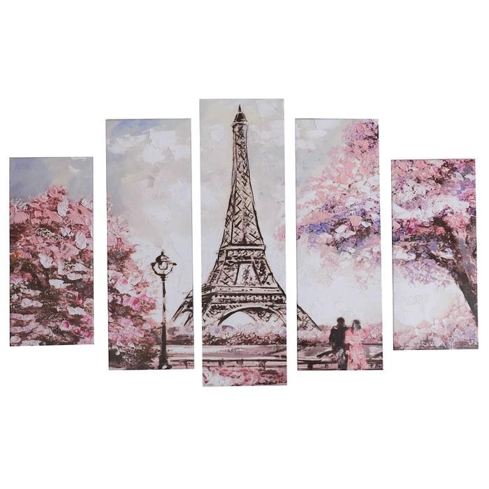 """Модульная картина """"Романтика Парижа"""" (2-23х52; 2-24х70; 1-24х80) 120х80см - фото 942431"""