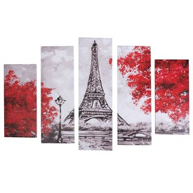 "Модульная картина ""Нарисованный Париж"" (2-23х52; 2-24х70; 1-24х80) 120х80см"