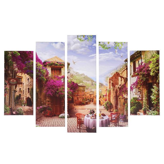 "Модульная картина ""Кафе в переулке"" (2-23х52; 2-24х70; 1-24х80) 120х80см"