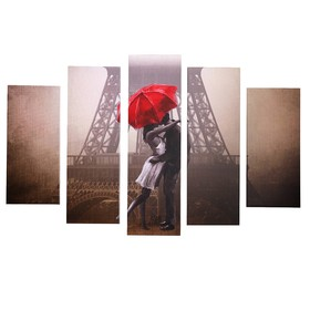 "Модульная картина ""Любовь в Париже"" (2-23х52; 2-24х70; 1-24х80) 120х80см"