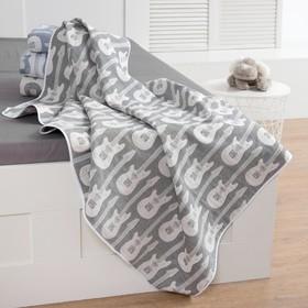 "Baby blanket ""Baby I"" Guitar 140 x 200 colour grey, jacquard, 100% cotton"
