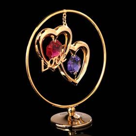 Сувенир «Сердца в кольце», 3×7×8 см, с кристаллами Сваровски