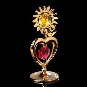 Сувенир «Сердце с солнцем», 3×3×8 см, с кристаллами Сваровски