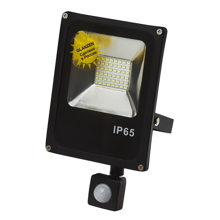 Прожектор светодиодный GLANZEN FAD-0012-30 c датчиком движения, 30 Вт, 6500 К, IP 65, 2500 Лм, SMD,