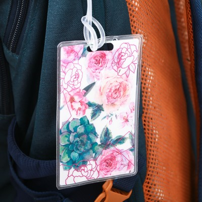 Бирка на чемодан «Цветы», 6.5 × 10 см
