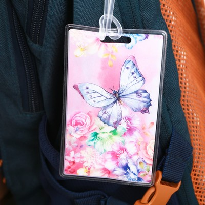 Бирка на чемодан «Бабочка», 6.5 × 10 см