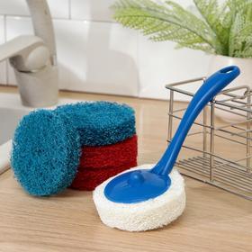 Губка для посуды абразивная с ручкой 20 × 8 см, цвет МИКС
