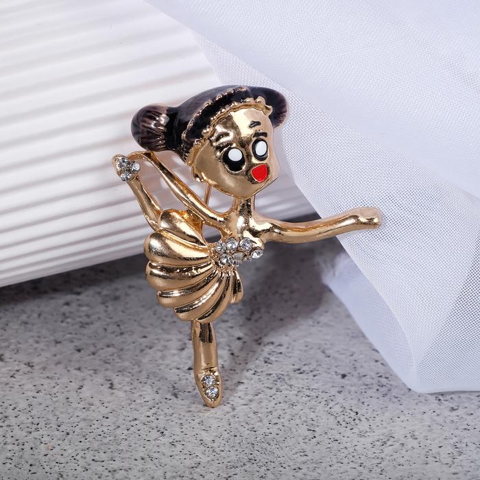 """Брошь """"Балерина"""" мультяшная, цветная в золоте"""
