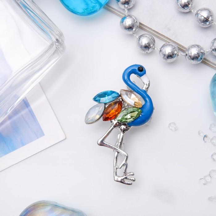 """Брошь """"Фламинго"""" искристый, цветная в серебре"""