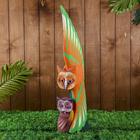 """Сувенир дерево """"Оранжевая сова с совёнком"""" 19х9х60 см"""