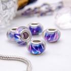 """Бусина """"Битое стекло"""", цвет бело-фиолетовый в серебре"""