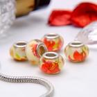 """Бусина """"Лилии"""", цвет красно-желтый в серебре"""