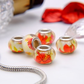 """Bead """"Lily"""", red-yellow, silver"""