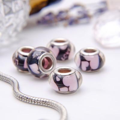 """Бусина """"Сердечки"""", цвет черно-розовый в серебре"""