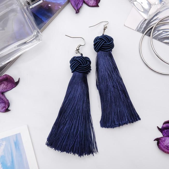 """Серьги """"Кисти"""" романс, цвет тёмно-синий в серебре, длина кисти 10 см - фото 798098971"""