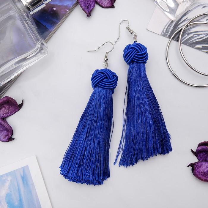 """Серьги """"Кисти"""" романс, цвет ярко-синий в серебре, длина кисти 10 см - фото 798098972"""