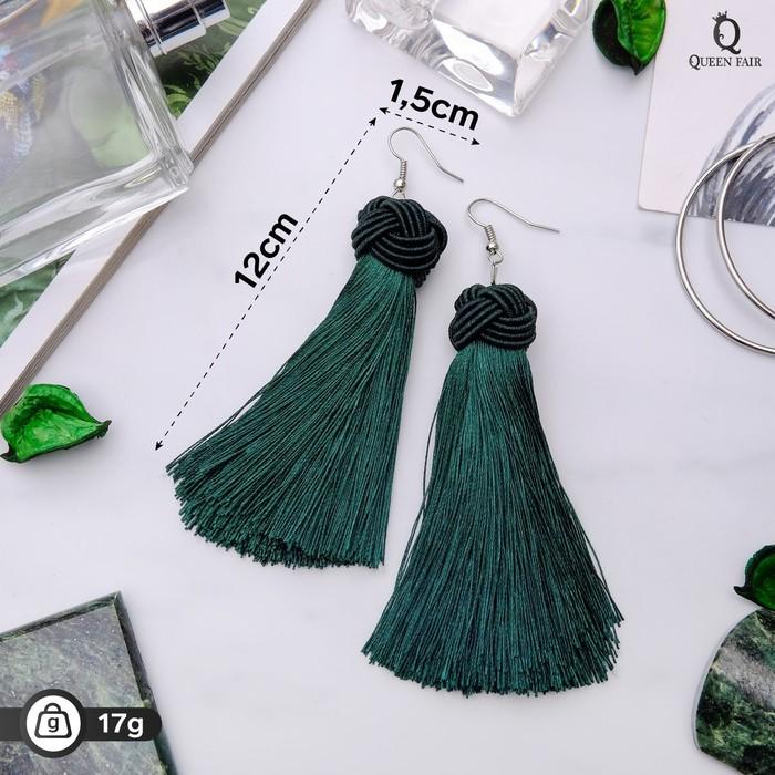 """Серьги """"Кисти"""" романс, цвет зелёный в серебре, длина кисти 10 см - фото 798098976"""