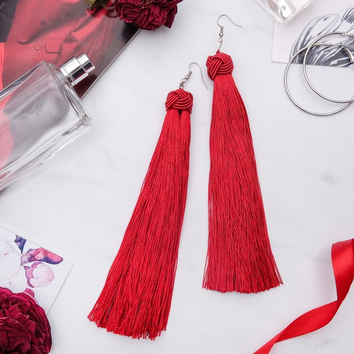 """Серьги """"Кисти"""" романс, цвет бордовый в серебре, длина кисти 16 см"""