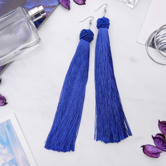 """Серьги """"Кисти"""" романс, цвет ярко-синий в серебре, длина кисти 16 см - фото 798098979"""