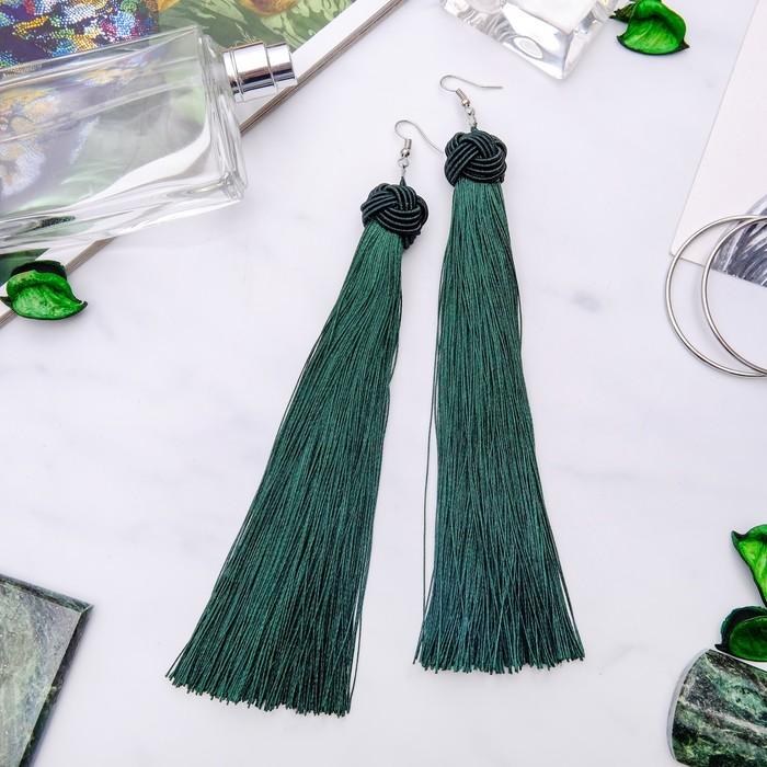 """Серьги """"Кисти"""" романс, цвет зелёный в серебре, длина кисти 16 см"""