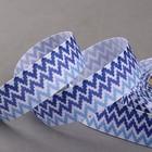 Лента репсовая «Зигзаг», 25 мм, 18 ± 1 м, цвет синий/голубой