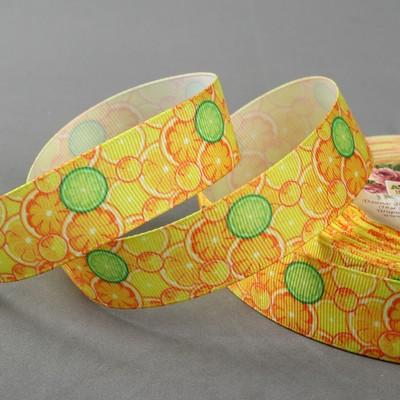 Лента репсовая «Цитрус», 25 мм, 18 ± 1 м, цвет жёлтый