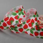 Лента репсовая «Клубника», 25 мм, 18 ± 1 м, цвет зелёный/красный