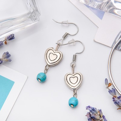 "Earrings ""Turquoise world"" hearts with beads, color blue black silver"