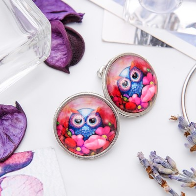 Earrings Candy owl with flowers, colored