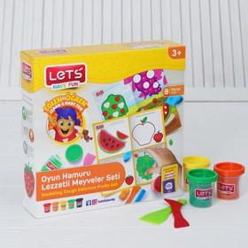 Тесто для лепки 5 цветов по 75 г «Фрукты» игровой коврик, резак, шпатель, ролик