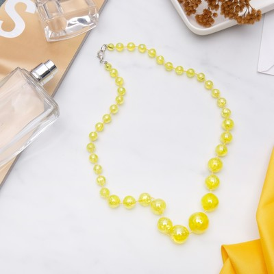 """Beads """"Classic"""" glitter beads, color iridescent yellow, 45 cm"""