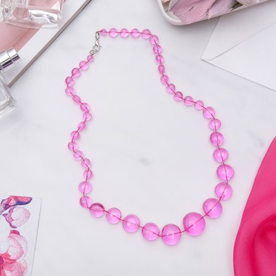 """Beads """"Carlo"""" bright, color pink, 50 cm"""