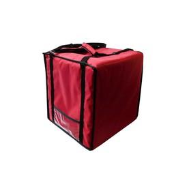 Термосумка на 9-10 пицц 420 х 420 х 500 мм, фольгированная,с вентиляцией, цвет красный