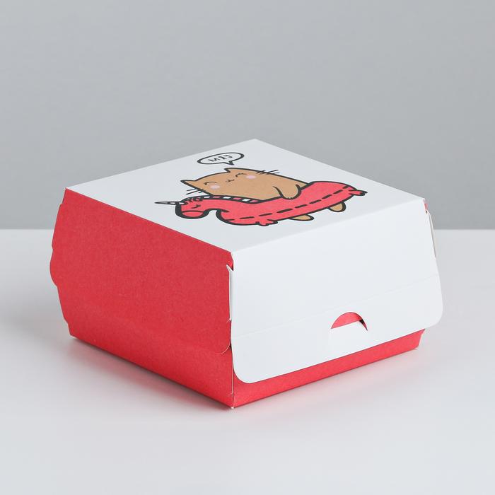 Коробка складная под десерт «Мяу», 12 × 7 × 12 см