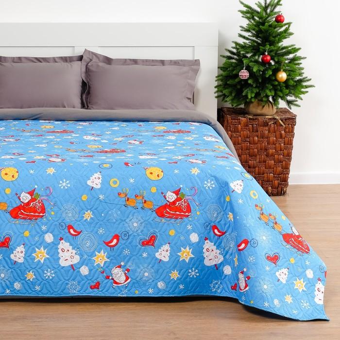 Покрывало «Экономь и Я» Новогодний снегопад 1,5 сп. 150×210 см, микрофайбер, 75 г/м²