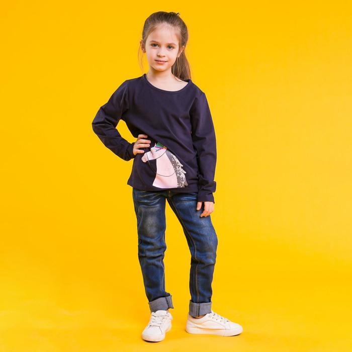 """Джемпер для девочки MINAKU """"Розовая лошадка"""", рост 92-98 см, цвет тёмно-синий - фото 105693524"""