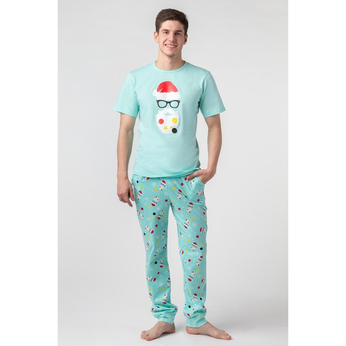 """1000 Мелочей - Пижама мужская (футболка, брюки) MINAKU """"Новый год"""", р.56, цвет бирюзовый"""