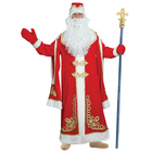 Дед Мороз с золотым декором,на подкладе,шуба,шапка,варежки, борода,парик,плюш р-р 56-58 рост   39303