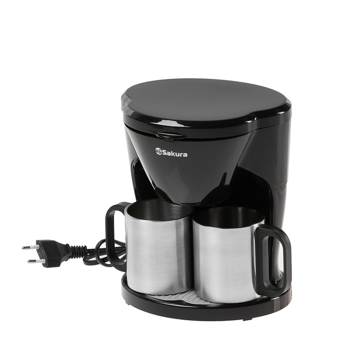 Кофеварка Sakura SA-6108BK, 450 Вт, 240 мл, 2 кружки, черная