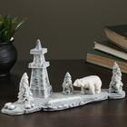 """Сувенир """"Белый медведь на фоне буровой"""" 14,5см - фото 925559"""
